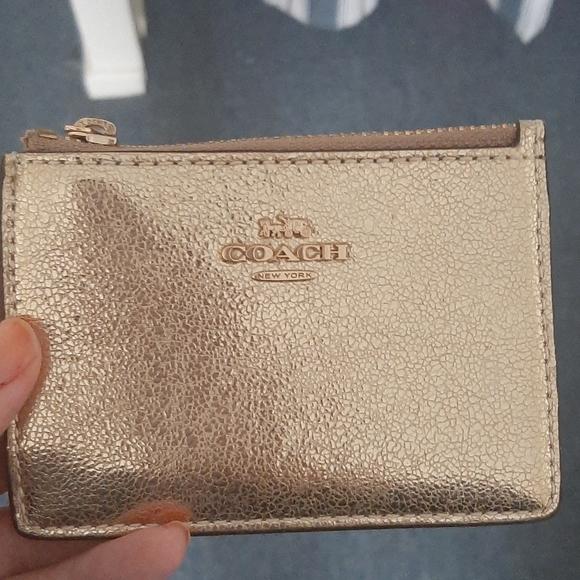 Coach Metalic Gold Skinny Mini Card Case